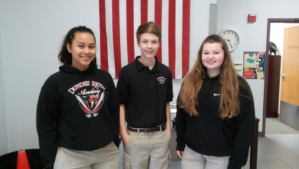 Congratulations to Lauren Wilcox, Ethan Montero and Julia Brickner.  They will be representing Dundee Ridge at All State Chorus on Saturday, January 16th in Tampa.  In order to be selected to participate in the All State Choir, students must audition in front of judges and be able to site read music.  An extremely high score is required to be selected for this honor.