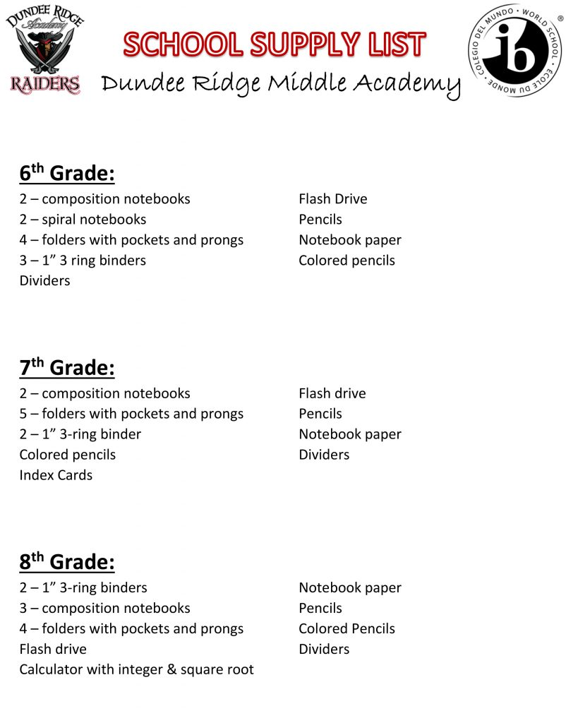 2018-19 School Supply List | Dundee Ridge Academy